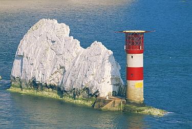 Needles Lighthouse marking the Needles rocks off the West coast of the Isle of Wight, UK 1995  -  Gary John Norman/ npl