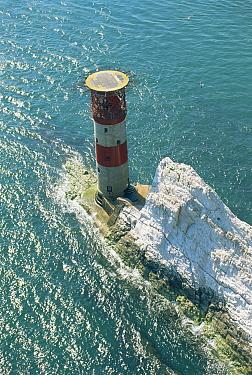 Needles Lighthouse marking the Needles rocks off the West coast of the Isle of Wight, UK, 1998  -  Gary John Norman/ npl