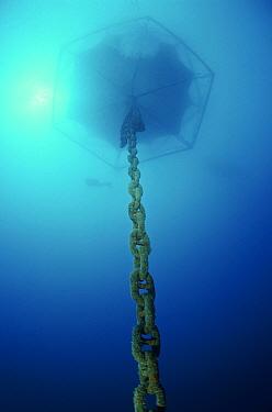 Aquaculture equipment with chain, Marina di Camerota, Campania, Italy  -  Angelo Giampiccolo/ npl