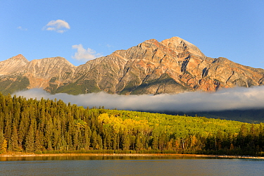 Pyramid Mountain towering over Pyramid Lake with low clouds over forest, Jasper National Park, Rocky Mountains, Alberta, Canada, September 2009  -  Eric Baccega/ npl
