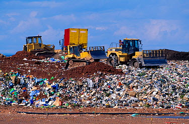 Bulldozers shifting rubbish at landfill site, Torness, East Lothian, Scotland, UK, June  -  Laurie Campbell/ npl