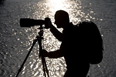 Photographer, Paul Chilton, silhouetted against Loch Garten, Scotland, October 2006  -  Pete Cairns/ npl