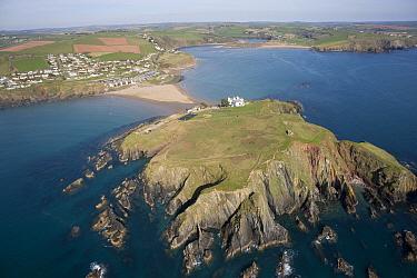 Aerial view of Burgh Island and Bigbury on Sea Devon UK April 2010  -  Dan Burton/ npl