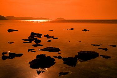 Coastal landscape at sunset, Cala Pregonda, Menorca, Balearic Islands, Spain, Europe  -  Edwin Giesbers/ npl