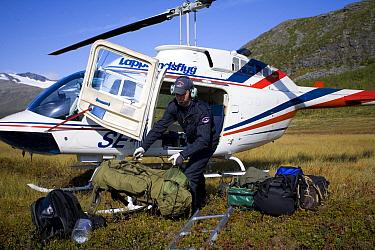 Helicopter pilot unloading equipment for WWE filming mission, Sarek National Park, Laponia World Heritage Site, Lapland, Sweden, September 2008  -  WWE/ Cairns/ npl