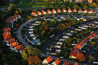 Aerial view of Sollentuna a suburb of Stockholm, Uppland, Sweden, September 2008  -  WWE/ Widstrand/ npl
