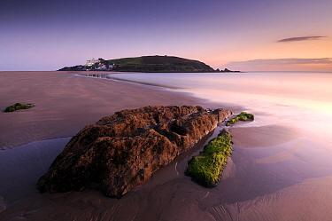 Burgh Island and Burgh Island hotel Evening light at low tide Taken from Bigbury Bay (Blue Flag beach) South Devon, UK September 2009  -  Ross Hoddinott/ npl