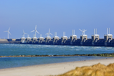 Oosterscheldekering, Eastern Scheldt storm surge barrier, the largest of 13 dams designed to protect the Netherlands from flooding Neeltje Jans, Netherlands, March 2010  -  Philippe Clement/ npl