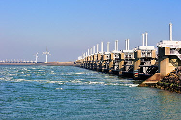 Oosterscheldekering, Eastern Scheldt storm surge barrier, part of the Delta Works that regulates the enormous tidal flows and harnesses spring floods Neeltje Jans, The Netherlands, March 2010  -  Philippe Clement/ npl