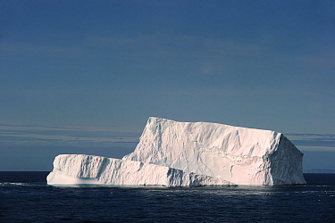 Iceberg floating at an angle, in Davis Strait off south Baffin island, Nunavut, Canada, August 2010  -  Eric Baccega/ npl