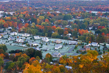 Aerial view of a subdivision in South Deerfield, Massachusetts, USA, as seen from South Sugarloaf Mountain in the Sugarloaf Mountain State Reservation, October 2006  -  Jerry Monkman/ npl