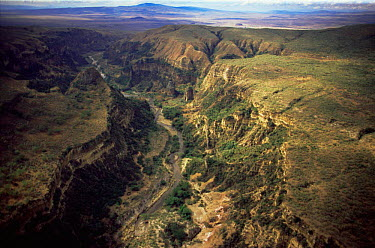 Aerial view of gorge, Hell's Gate NP, Great Rift Valley, Kenya  -  Anup Shah/ npl