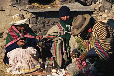 Pachamama ceremony, Colca valley, Peru  -  Karen Bass/ npl