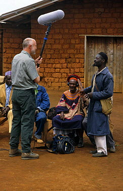 BBC NHU Sound recordist at village meeting, Bamenda Highlands, North West Province, Cameroon, on location for Life of Birds,  -  Nigel Bean/ npl