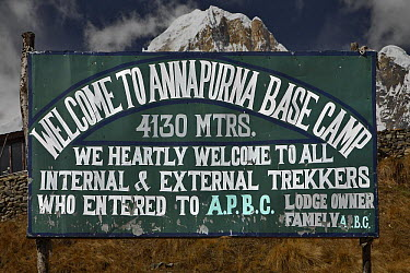 Welcome sign at entrance to Annapurna base camp, Nepal, November 2007  -  Michel Petit/ npl