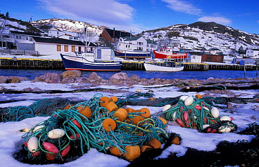 Fishing boats and nets, Petty harbour, Newfoundland, Canada  -  Niall Benvie/ npl