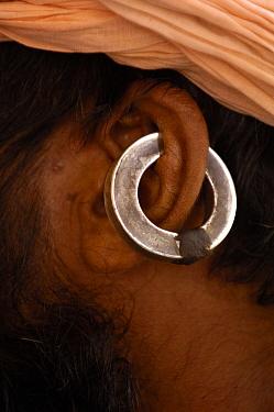 Close up of traditional earring of a Gorakhnathi Yogi, holy man from Mahayogi Machhendra Nath Temple in Pushkar, Rajasthan, India, October 2006  -  Pete Oxford/ npl