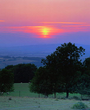Sunset over Cotswold landscape, Broadway, Worcestershire, UK 2003  -  Nick Turner/ npl