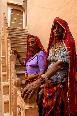 Women inside the Palace of the Junagarh Fort in Bikaner, Rajasthan, India, 2006  -  Pete Oxford/ npl