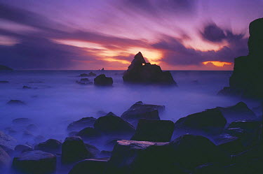 Dusk at Cligga Point, nr Perranporth, Cornwall, England, UK  -  David Noton/ npl