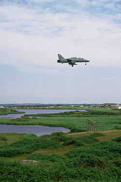 Jet fighter plane above Valley Lakes RSPB reserve, Anglesey, Gwynedd, Wales, UK  -  Chris Gomersall/ npl