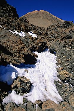 Snow near summit of El Teide volcano, El Teide National Park, Tenerife  -  Michael Hutchinson/ npl