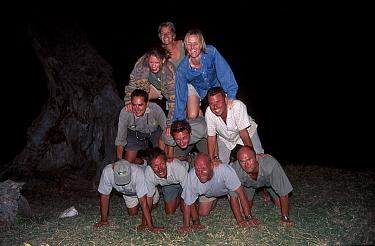 Big Cat Diary film crew team Masai Mara National Reserve Kenya 2000  -  Angela Scott/ npl