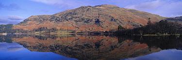 Panoramic view of Ullswater with mountains reflected in lake, Lake District, Cumbria, UK  -  David Tipling/ npl