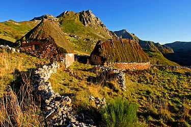 Traditional thatched houses, Bra?a de Mumi?n Somiedo NP, Asturias, Spain  -  Juan Manuel Borrero/ npl