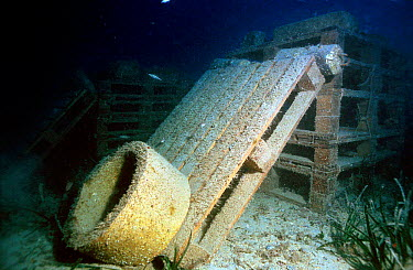 Artificial reef created by anchoring materials to seabed Mediterranean  -  Jose B. Ruiz/ npl
