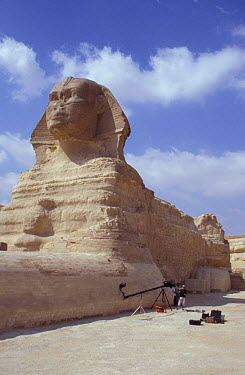 The Sphinx, Cairo, Egypt with BBC NHU film unit  -  Dan Rees/ npl