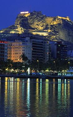 Alicante castle and town at night, Spain  -  Jose B. Ruiz/ npl
