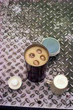 Thermos flask hiding illegally collected eggs, UK  -  Richard Porter/ npl