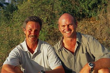 Jonathon Scott (left) and Simon King presenters of Big Cat Diary, Masai Mara NR Kenya 2000  -  Angela Scott/ npl
