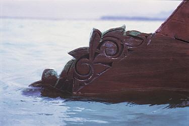 Carved bow detail of traditional Bajau Lepa fishing boat, Pulau Gaya, Borneo, Malaysia  -  Jurgen Freund/ npl