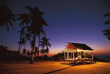 Rest house for fishermen on beach, Pamilacan Is, Philippines  -  Jurgen Freund/ npl
