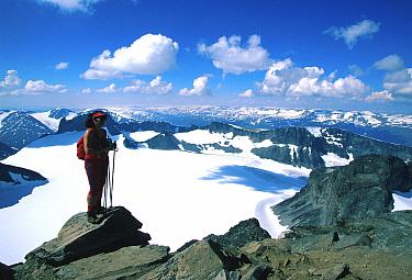 Climber on Mt Galdhopiggen, 2468 metres, Jotunheimen NP, highest point in Norway  -  Asgeir Helgestad/ npl