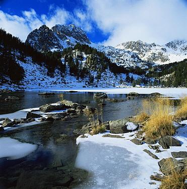 Partly frozen lake below Aigues Tortes i Estany Sant Maurici NP, The Pyrenees, Lerida, Catalonia, Spain Europe  -  Juan Manuel Borrero/ npl