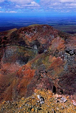 Rocks on rim of cone of active volcano, Sierra Negra, Isabela Is, Galapagos  -  Pete Oxford/ npl