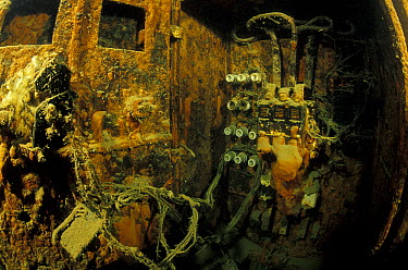 Electricity system in engine room of wrecked crude oil super-tanker Amoco Milford Haven, which sank on April 14th, 1991 after three days of fire Genoa, Italy, 2002  -  Roberto Rinaldi/ npl