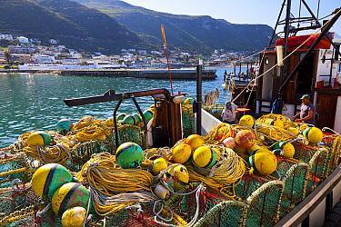 Fishing boat with lobster pots in the fishing village of Kalk Bay, False Bay, South Africa  -  Juan Carlos Munoz/ npl