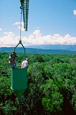 Camerawoman Justine Evans filming presenter Sir David Attenborough in a canopy crane on location for BBC Natural History Unit series 'Life of Birds' Venezuela, 1997  -  Mike Salisbury/ npl