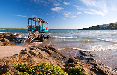 Sea Tractor, a motor vehicle used to transport tourists and visitors along the causeway at high tide Burgh island is shown in the background, with the causeway covered by the tide Burgh Island, Bigbur...  -  Ross Hoddinott/ npl