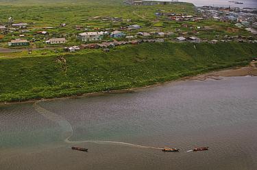 Aerial view of fishing boats laying nets to catch salmon, Lake Kuril, Kamchatka, Far East Russia, July 2006  -  Sergey Gorshkov/ npl