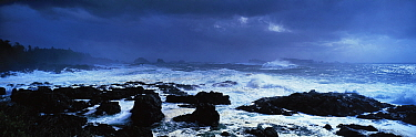 Dramatic seas crashing onto a rocky shore The Broken Group Islands from The Wild Pacific Trail, Ucluelet, West coast of Vancouver Island, Canada, September 2010  -  Matthew Maran/ npl