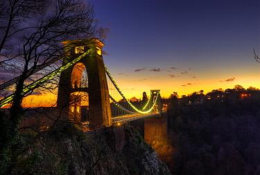 Clifton Suspension Bridge over the Avon Gorge at dusk, Bristol, UK, January 2010  -  Steve Nicholls/ npl