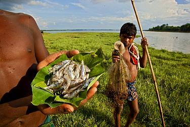 Fishermen displaying their catch Chakrashila Wildlife Sanctuary, Assam, India  -  Sandesh Kadur/ npl