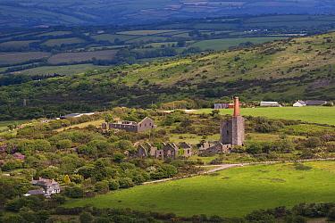 Abandoned tin mine and farmland Bodmin Moor, Cornwall, UK, May  -  Ernie Janes/ npl