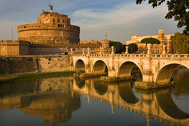 Castel St Angelo and the River Tiber, Central Rome, Italy  -  Ernie Janes/ npl