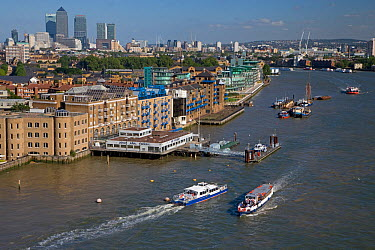 View from Tower Bridge, London, looking east over River Thames with Canary Wharf in the background, London, UK  -  Ernie Janes/ npl